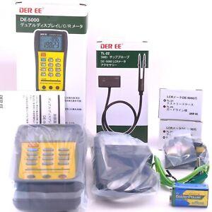 DER EE DE-5000 Handheld LCR Meter with Full Accessories TL-21/ TL-22/ TL-23 NEW