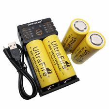 Batería 4PC 26650 12800mAh baja de drenaje Li-ion recargable Cargador USB Y Lámpara de Reino Unido