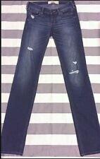 Hollister Women's Size 1 25/34 Destroyed Straight Leg Medium Wash Jeans