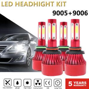 Pair 4-Side 9005 9006 LED Combo Headlight Kit COB 240W Light Bulbs High/Low Beam