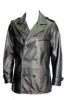 New Hugo Men's Classic Army Officer Style Black Real Napa Leather Jacket Coat
