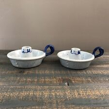 2 Metlox Pottery Poppy Trail Provincial Blue Candleholders, Made in CA