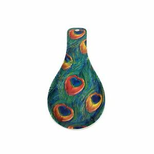 PEACOCK FEATHERS BLUE GREEN ORANGE MELAMINE SPOON REST HOLDER 24X9X3CM