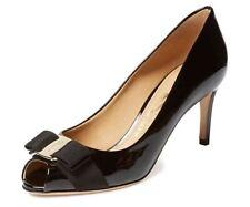 Salvatore Ferragamo Pola Peep Toe Black Patent Calf Pump Size 6 B