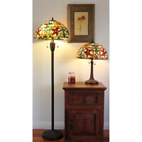 (Lamp Set) Tiffany Style Stained Glass Table Lamp and Floor Lamp Accent Reading