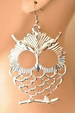 Tone Bird Avian Boho Costume Jewelry Chunky Owl Dangle Statement Earrings Silver