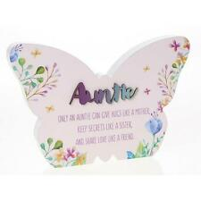 Auntie Gift - Large Floral Butterfly Colourful plaque with sentiment 22cm 66266