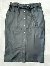 BNWT, F&F, Ladies Faux Leather, Black Midi Skirt, Size 16