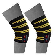 """Per il sollevamento pesi Knee Wraps Palestra Cinghie fasciatura Guardia Powerlifting 78"""" Nero/Giallo"""