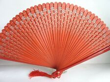 HIGH QUALITY Chinese Japanese Folding Bamboo Pocket Flower Rose Hand Fan Orange