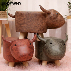 Cow Solid Wood Children's Stool Home Backrest Cartoon Baby Small Stool Animal