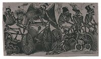 "Skeletons Riding Bicycles, José Posada, Skulls, Bike, antique, 24""x14"" Art Print"