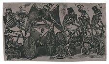 "Skeletons Riding Bicycles, José Posada, Skulls, Bike, antique, 24""x14"" Art Print"