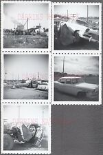 Lot of 5 Vintage Car Photos 1956 Studebaker Commander Wreck  in Junk Yard 742294