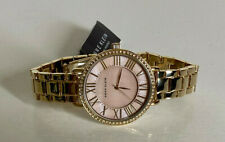 NEW! ANNE KLEIN AK BLUSH PINK SWAROVSKI CRYSTALS BEZEL GOLD BRACELET WATCH $95
