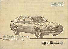 1985 ALFA ROMEO 75 BETRIEBSANLEITUNG UND WARTUNG BORDBUCH HANDBUCH DEUTSCH