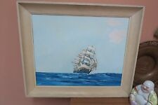 """Vintage Signed Lukens '60 Painting Sailboat Clipper SHip 16"""" x 20"""" - 20"""" x 24"""""""