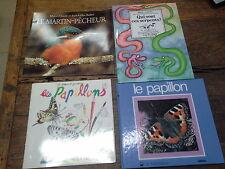 Lot de 4 livres sur les papillons le Martin pêcheur les serpents  / pour enfant