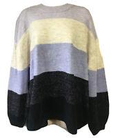 TRENDY Ladies UK 16 OS Jumper Sweater Knit Pullover Colourblock Xmas Lilac Cream