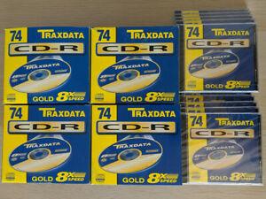 50 Stück TRAXDATA CD-R 74 Min gold 8x Speed CD Rohlinge 650 MB