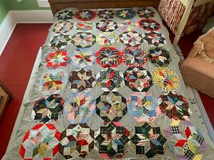 """Vintage 1950's Hand Sewn Star Quilt Top 61""""x 75"""" Masculine Colors"""