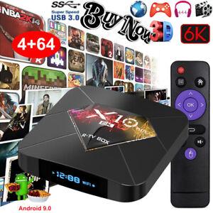 X10 Plus 6K Android 9.0 4+64G TV BOX Quad Core WLAN H.265 USB3.0 3D Media Player