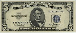 1953 A $5.00 SILVER CERTIFICATE ~ BRAND NEW, YET 68 YEARS OLD ~ 1c START