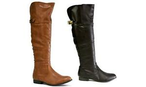 Ladies New Winter Style Riding Boot-Casual Knee High Buckle Zip Up Flat Boot