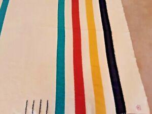HUDSON'S BAY POINT BLANKET, Antique, 4 Point Full, Multi-Stripe, 1920's