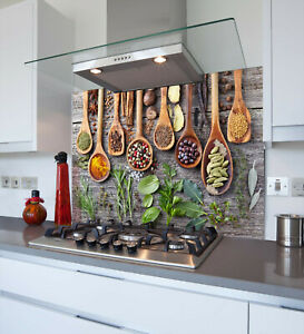 Toughened & Heat Resistant Printed Kitchen Glass Splashback - Spoons & Spices
