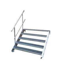 2 stufige freistehende Stahltreppe Standtreppe Breite 100cm Höhe 42cm verzinkt