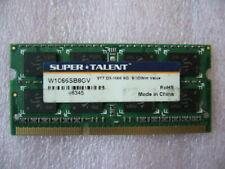QTY 1x 8GB DDR3 PC3-8500 SO-DIMM memory for laptop Super TALENT W1066SB8GV