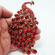 "4.33"" Vintage Red Peacock Bird Gold-plated Brooch Pin Rhinestone Crystal"