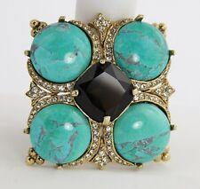 ELEGANT CINER Jewelry TURQUOISE MATRIX GLASS RHINESTONE MALTESE CROSS BROOCH