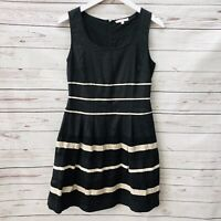 41 Hawthorn Stitch Fix Black A-Line Dress Ivory Stripe Sleeveless Size Small