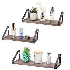 Set of 3 Floating Shelves Wall Mounted Rack Rustic Wood Wall Shelves Storage