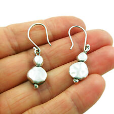 Long 925 Sterling Silver Pebble Earrings