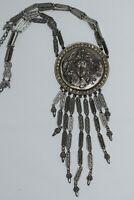 Vintage Goldette Silver Art Nouveau Maiden Repousse Tassel Runway Necklace