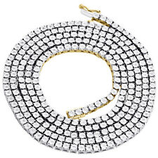 "Mens 1 Row Necklace Diamond Tennis Link Choker Chain 20"" Sterling Silver 0.60 CT"