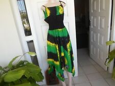 Sexy Jamaican Color Tie Dye Speghitte Strap Dress Handmade 100% Cotton One Size