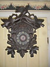 LARGE ANTIQUE BLACK FOREST CUCKOO -QUAIL CLOCK CASE COMPLETE  FOR YOUR MOVEMENT