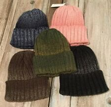Thick Ribbed Knit Beanie Available In 5 Vintage Acid Wash Colors