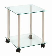 Tempered Glass & Aluminium Side / End table With Castor Wheels