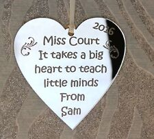 Personalised Teachers Mirror Heart Thank you  Gift/Decoration