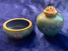Vintage Chinese Cloisonné Salt Cellar & Pepper Shaker - Yellow & Pink on Aqua