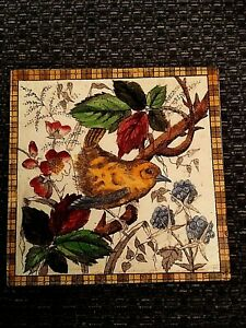Antique tile depicting bird perched on a branch near blackberries    21/478S