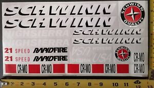 SCHWINN BMX OLD SCHOOL  STICKER  SET  VINTAGE DIE-CUT DECAL --FREE SHIPPING--