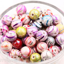 Mixed 20Pcs Floral Striped Round Loose Spacer Charms Beads Jewelry Findings 8mm