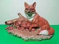 "VINTAGE FOX AND BABIES FIGURINE☆1982 FOX CERAMICHROME MOLD☆8.5""L x 6""H☆CHALK ART"
