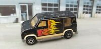 Majorette No 250 U.S. Van 1:65 Black Die-cast Van with Flames France Chevy Ford?